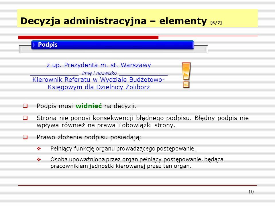 Decyzja administracyjna – elementy [6/7]